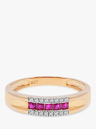 A B Davis 9ct Gold Ruby and Diamond Ring