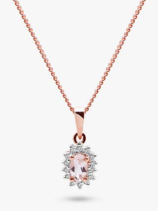 A B Davis 9ct Rose Gold Diamond and Morganite Cluster Oval Pendant Necklace