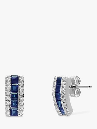 A B Davis 9ct White Gold Diamond and Sapphire Curve Stud Earrings