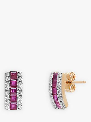 A B Davis 9ct Gold Diamond and Ruby Curve Stud Earrings