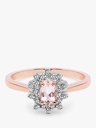 A B Davis 9ct Rose Gold Morganite and Diamond Ring