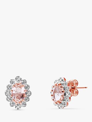 A B Davis 9ct Rose Gold Morganite and Diamond Cluster Oval Stud Earrings, Rose Gold/Pink