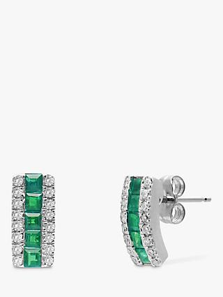 A B Davis 9ct White Gold Diamond and Emerald Curve Stud Earrings
