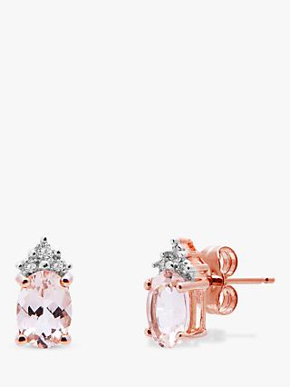 A B Davis 9ct Rose Gold Morganite and Diamond Oval Stud Earrings, Rose Gold