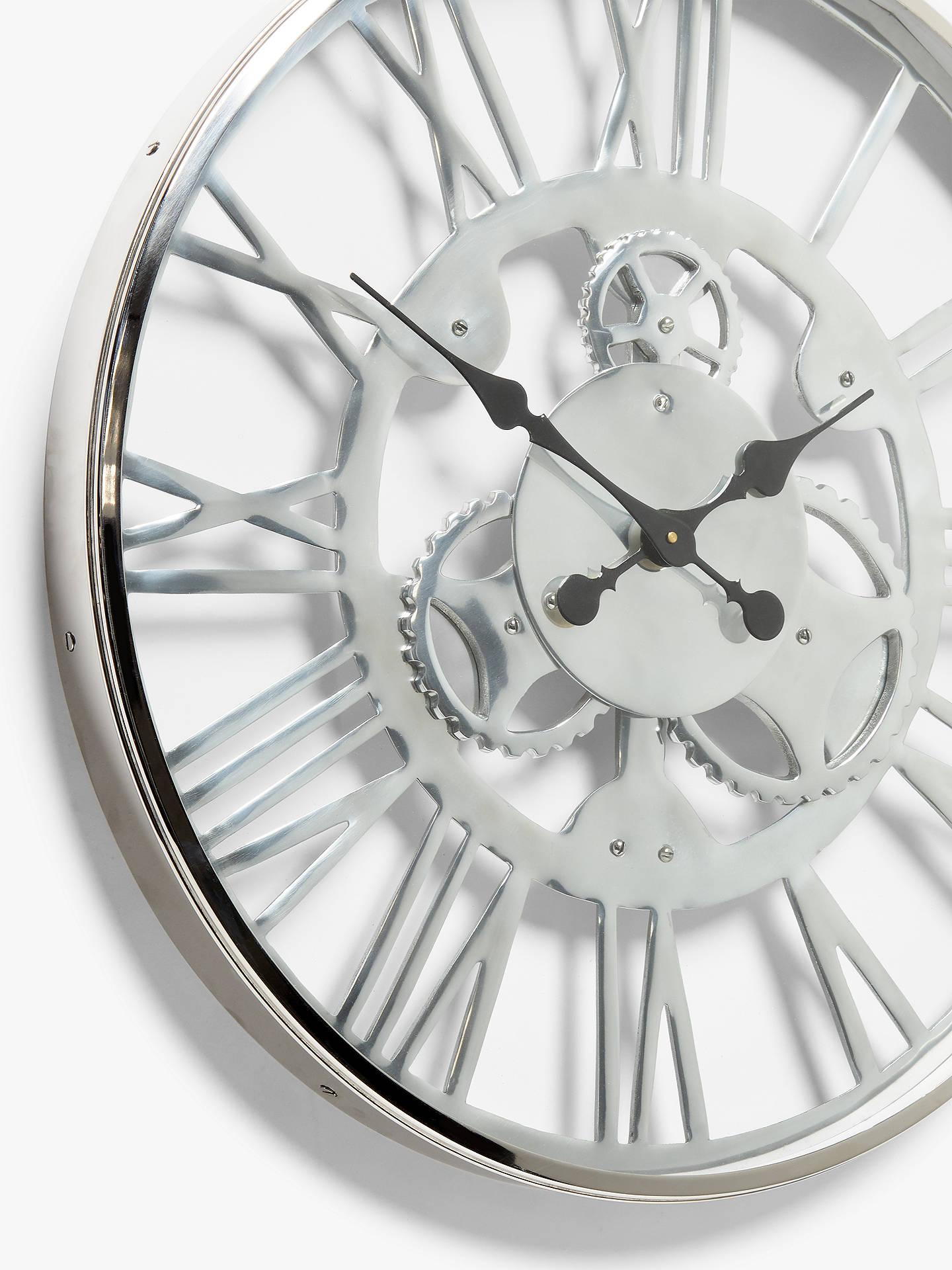 John Lewis Partners Edgar Large Roman Numeral Skeleton Clock 60cm Nickel Chrome