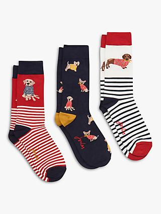 0d7f103384749 Joules Brill Bamboo Dog and Stripe Print Ankle Socks, Pack of 3, Multi