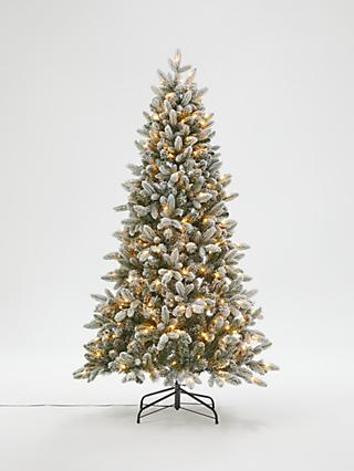 John Lewis & Partners Pre-Lit Snowy Spruce Christmas Tree, 6ft
