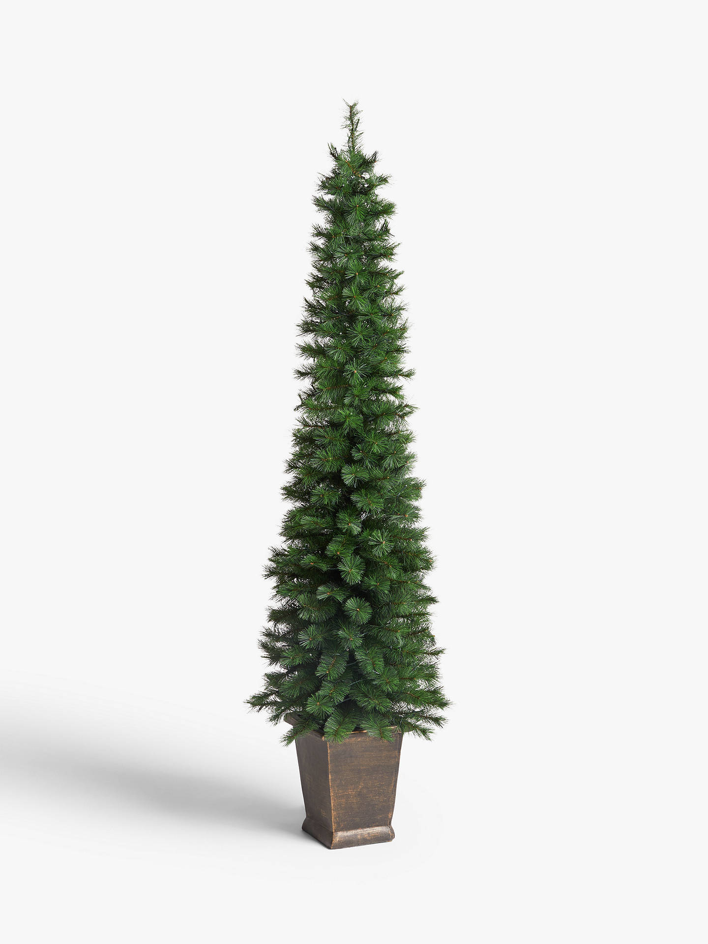 John Lewis Partners Pencil Pine Potted Pre Lit Christmas Tree 7ft