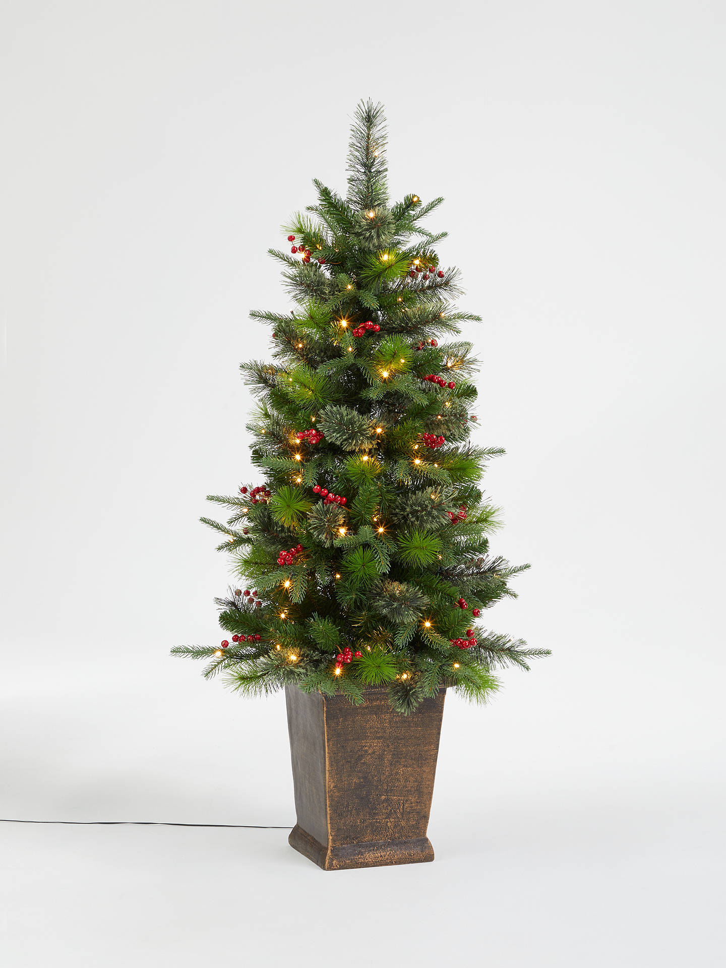 new concept c80b2 958ba John Lewis & Partners Balmoral Potted Pre-Lit Christmas Tree, 4.5ft