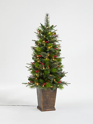 John Lewis & Partners Balmoral Potted Pre-Lit Christmas Tree, 4.5ft