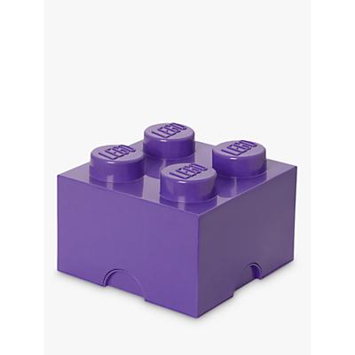 LEGO 4 Stud Storage Brick Plastic Box, Lilac