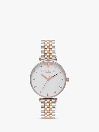 db3b95ba6 Olivia Burton OB16AM93 Women's Bee Bracelet Strap Watch, Silver/Rose Gold