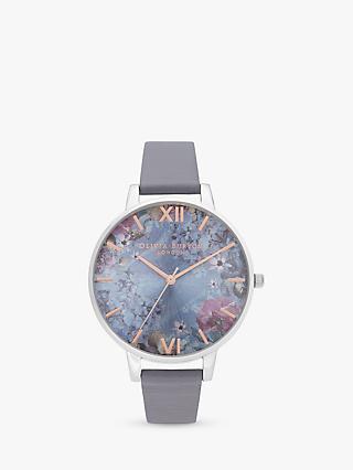 7513612dc Olivia Burton OB16US09 Women's Under The Sea Leather Effect Strap Watch,  Silver/Blue