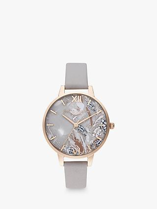 5902058f11 Olivia Burton OB16VM37 Women's Abstract Florals Leather Effect Strap Watch,  Grey Lilac/Pale Rose