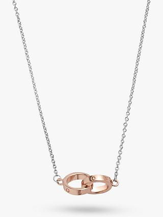 Olivia Burton Interlinked Engraved Chain Necklace, Silver/Rose Gold OBJ16ENN53