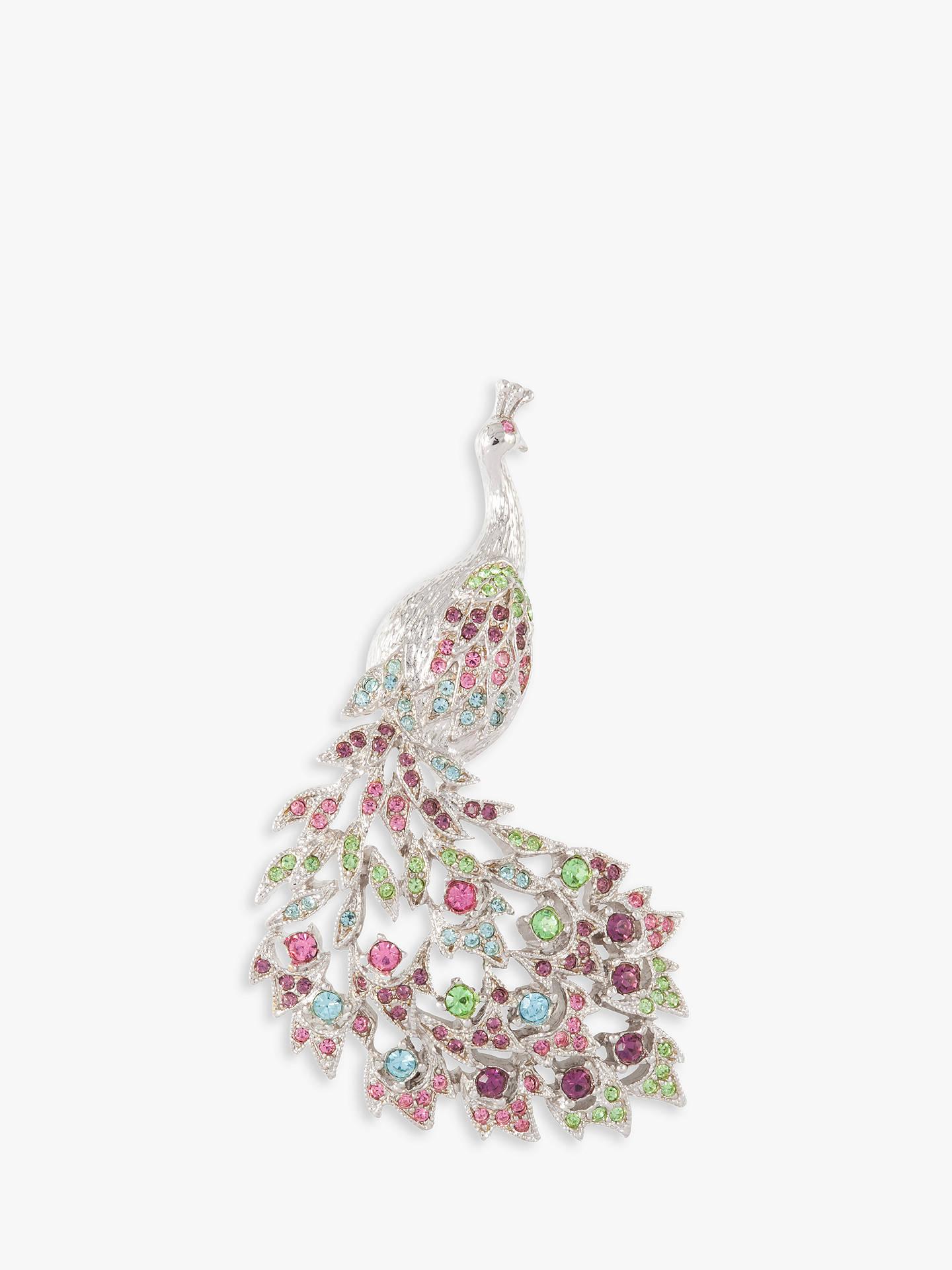 41db235b93d Buy Susan Caplan Vintage D'Orlan Silver Plated Swarovski Crystal Peacock  Brooch, Silver/ ...