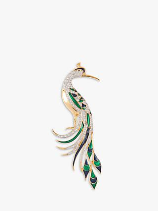 Susan Caplan Vintage 22ct Gold Plated Swarovski Crystal and Enamel Peacock Brooch, Gold/Multi