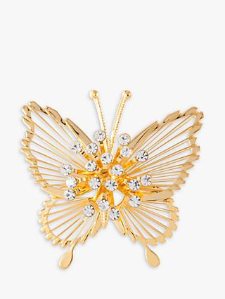 Susan Caplan Vintage Monet 22ct Gold Plated Swarovski Crystal Butterfly Brooch, Gold