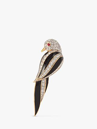 Susan Caplan Vintage D'Orlan 22ct Gold Plated Enamel and Swarovski Crystal Bird Brooch, Gold/Black