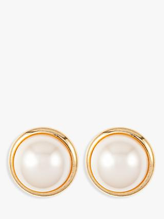 Susan Caplan Vintage Gold Plated Faux Pearl Stud Earrings, Gold/White