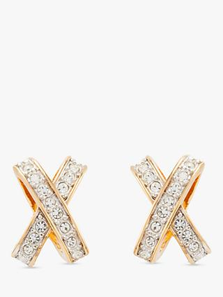 Susan Caplan Vintage Nina Ricci 22ct Gold Plated Swarovski Crystal Cross Clip-On Stud Earrings, Gold