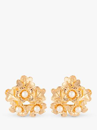 Susan Caplan Vintage Nina Ricci Gold Plated Faux Pearl Flower Clip-On Earrings, Gold