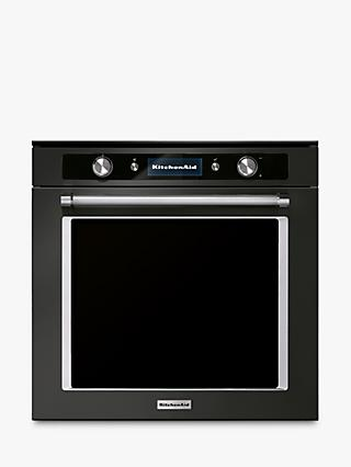 KitchenAid KOLSPB 60602 Built-in Pyrolitic Single Electric Oven, A+ Energy Rating, Black Steel