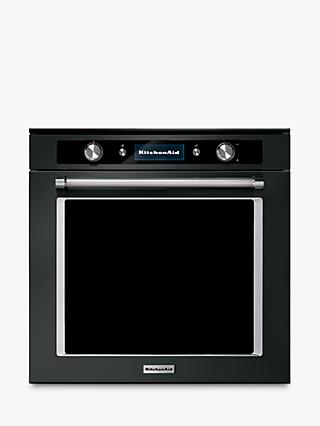 KitchenAid KOTSPB 60600 Built-In Pyrolytic Single Oven, A+ Energy Rating, Black Steel