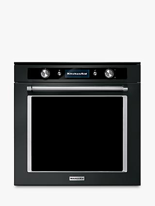 KitchenAid KOASPB 60600 Built-In Pyrolitic Single Oven, Black Steel
