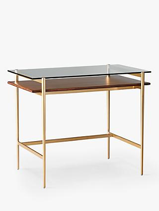 west elm Art Display Mini Desk, Walnut/Brass