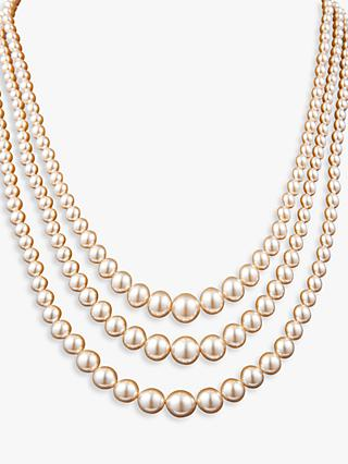 Susan Caplan Vintage Silver Plated Faux Pearl 3 Row Layered Necklace, White