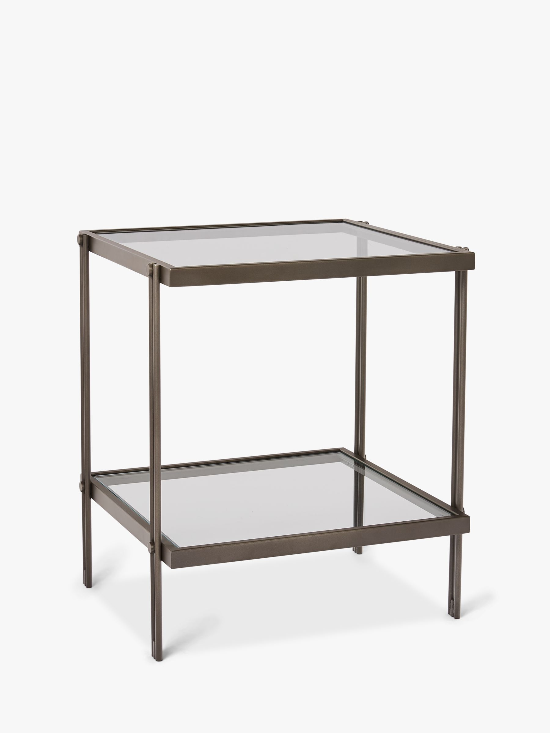 Picture of: West Elm Fulton Glass Side Table Bronze At John Lewis Partners