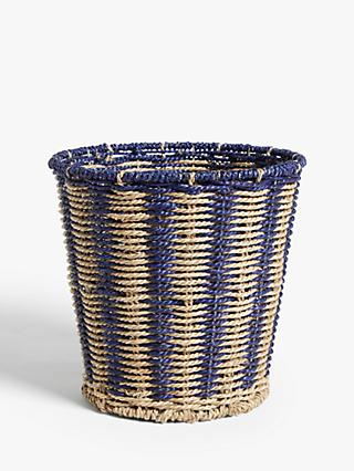 John Lewis & Partners Blue Stripes Seagrass Waste Paper Bin