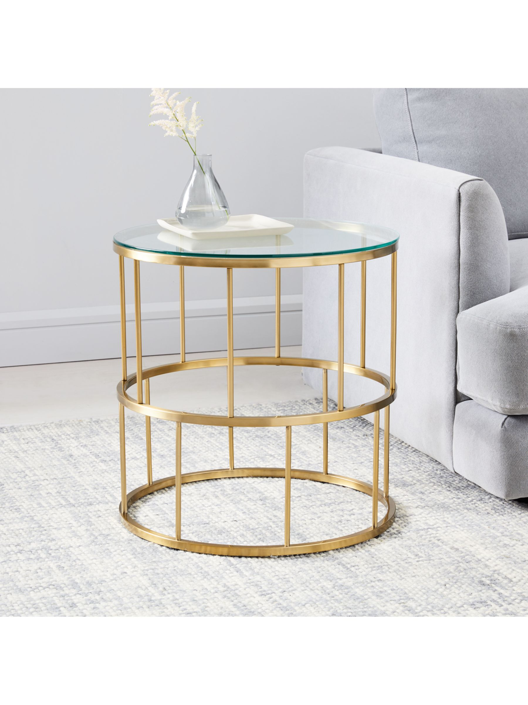 West Elm Deco Lattice Side Table Brass At John Lewis Partners