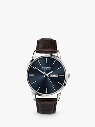 Sekonda Men's Day Date Leather Strap Watch