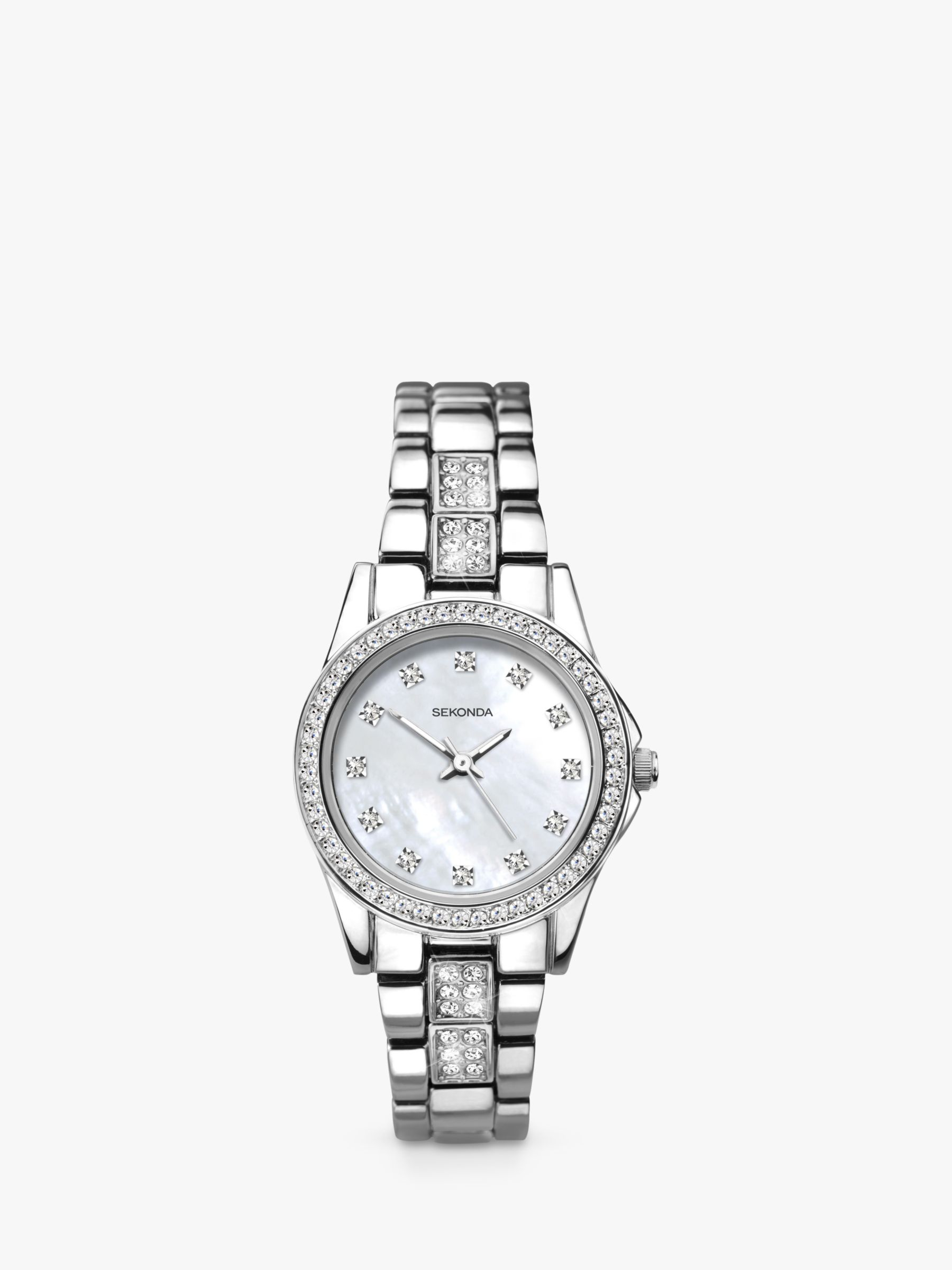 Sekonda Sekonda 2841 Women's Crystal Bracelet Strap Watch, Silver/Mother of Pearl