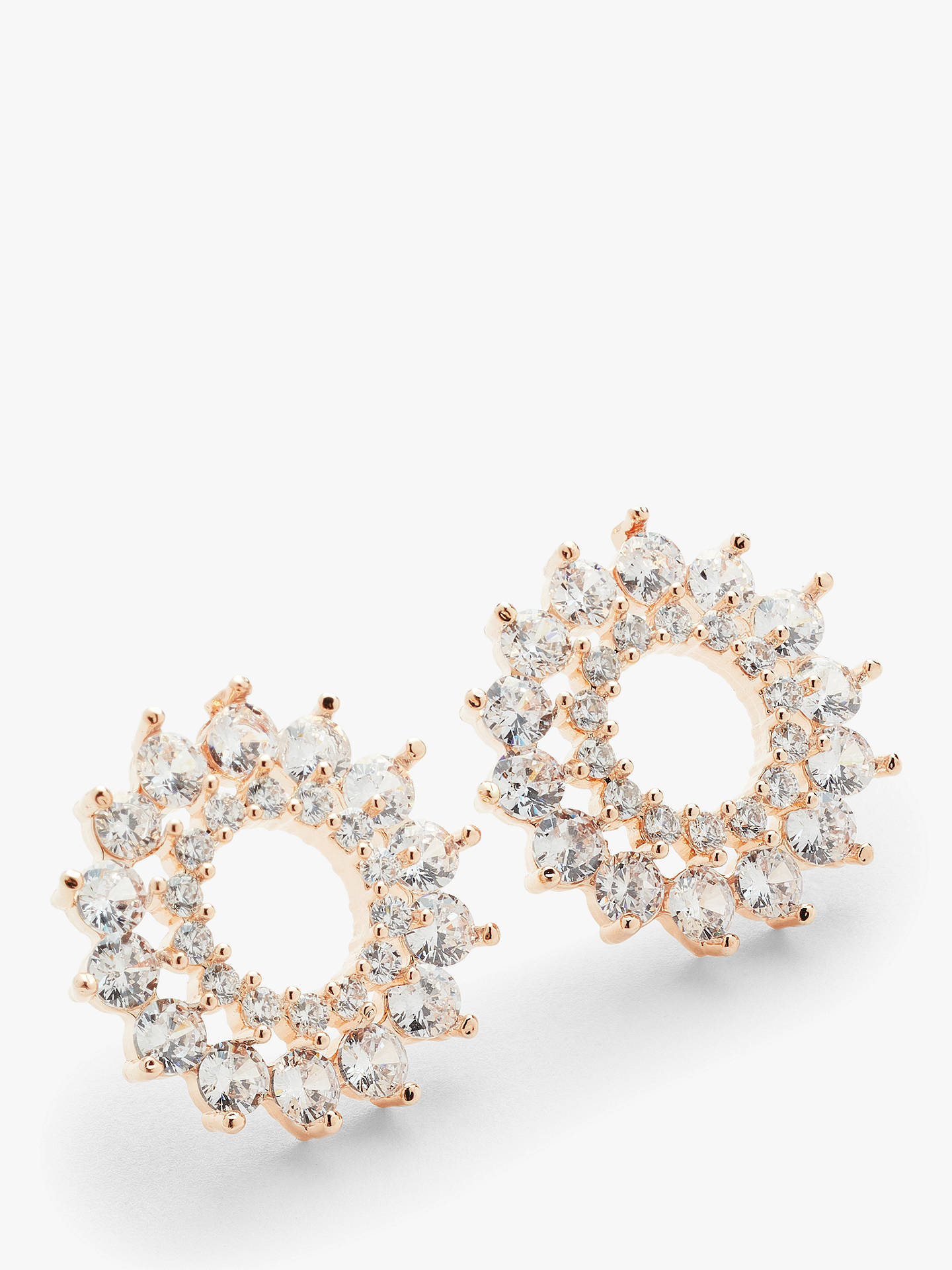 44bba135063c Buy John Lewis & Partners Cubic Zirconia Large Open Stud Earrings, Rose  Gold Online at ...