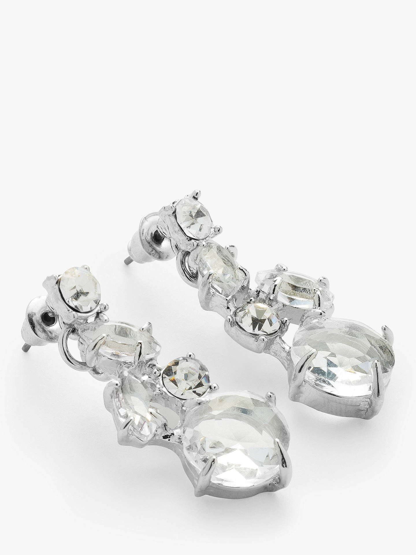John Lewis Partners Cubic Zirconia And Gl Drop Earrings Silver