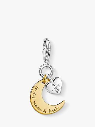 THOMAS SABO Charm Club Crescent Moon and Heart Charm, Silver/Gold