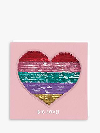 Redback Cards Heart Sequin Blank Greeting Card