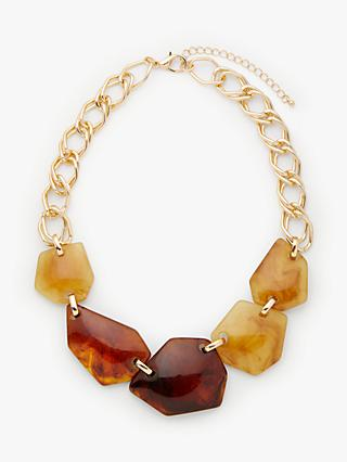 John Lewis & Partners Abstract Chunky Bead Necklace, Lime/Tortoise