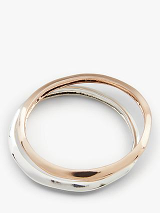 John Lewis & Partners Polished Bangles, Set of  2, Silver/Rose Gold