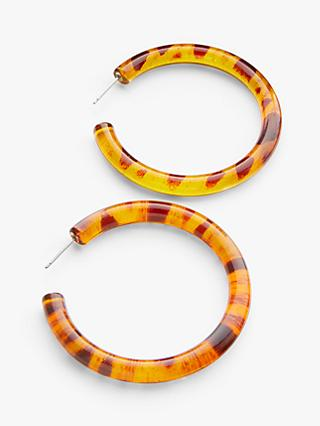 John Lewis & Partners Large Hoop Earrings, Tortoise