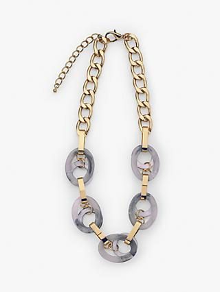 John Lewis & Partners Resin and Metal Link Short Necklace, Grey/Gold
