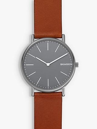 bec50d89767 Skagen Men s Signatur Leather Strap Watch