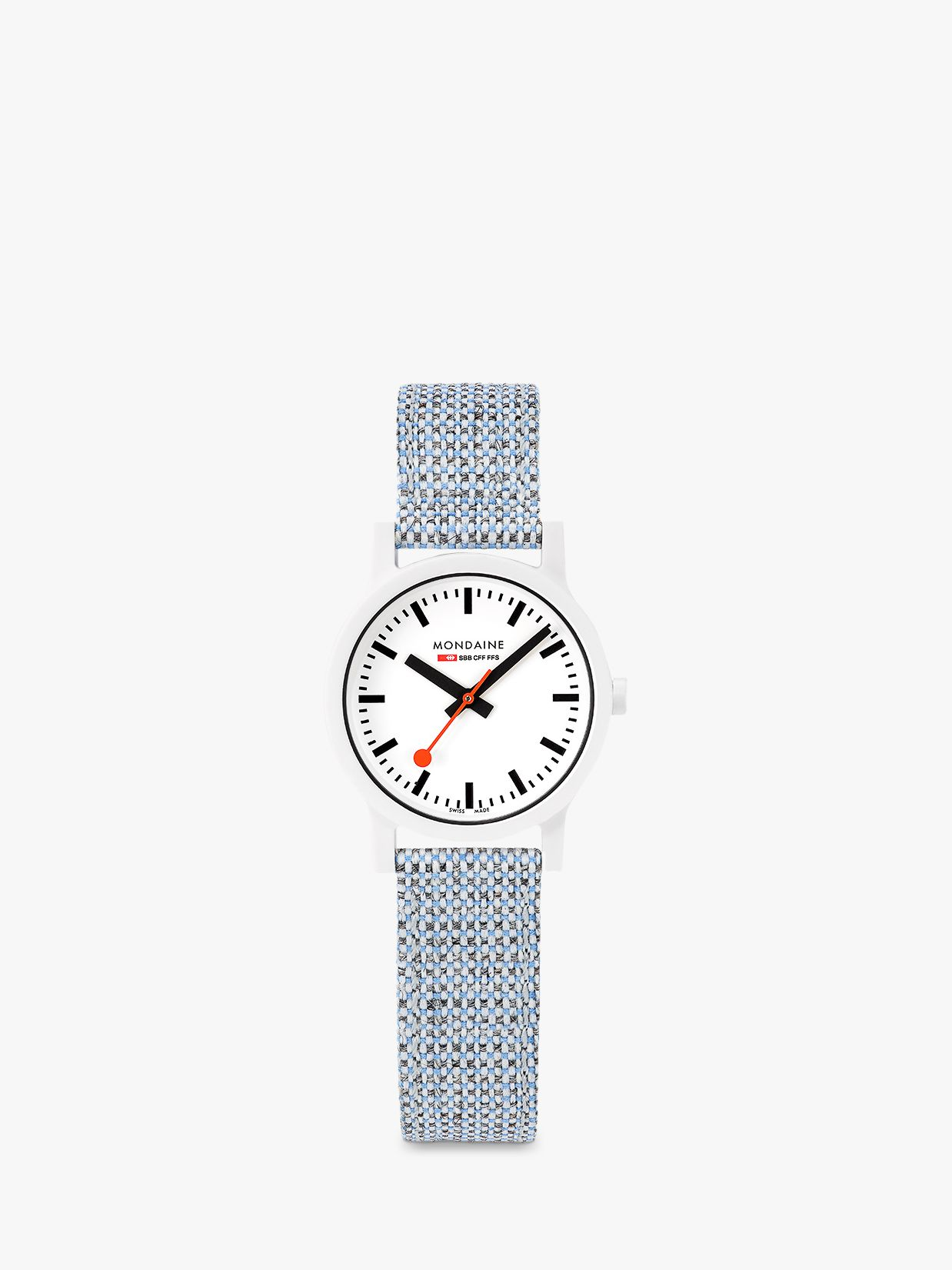 Mondaine Mondaine MS1.32110.LD Women's Essence Fabric Strap Watch, Blue Multi/White