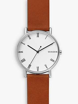 a8c11e22326 Skagen SKW6427 Men s Signatur Leather Strap Watch