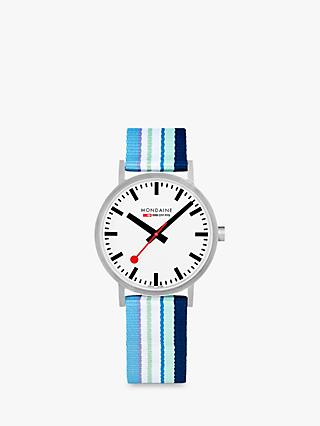 Mondaine A660.30360.16SBP Unisex SBB Classic Fabric Strap Watch, Blue Multi/White