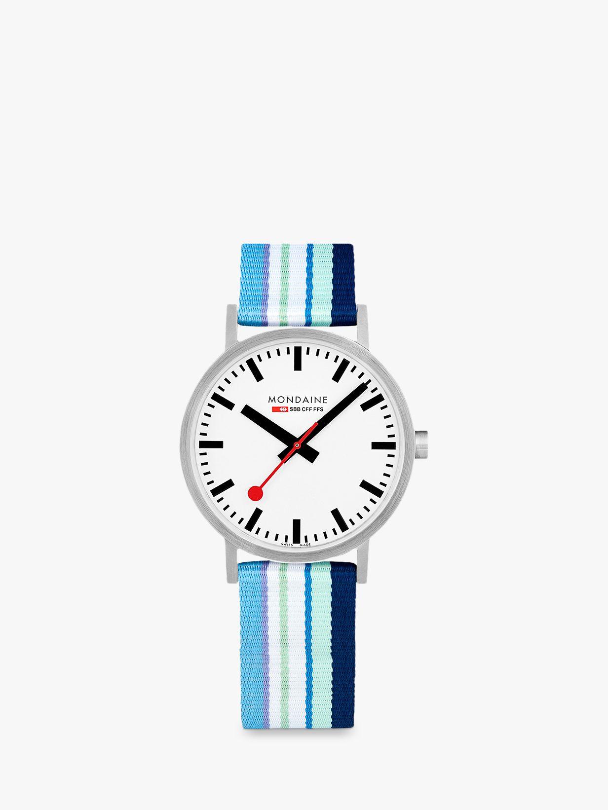 Mondaine Mondaine A660.30360.16SBP Unisex SBB Classic Fabric Strap Watch, Blue Multi/White
