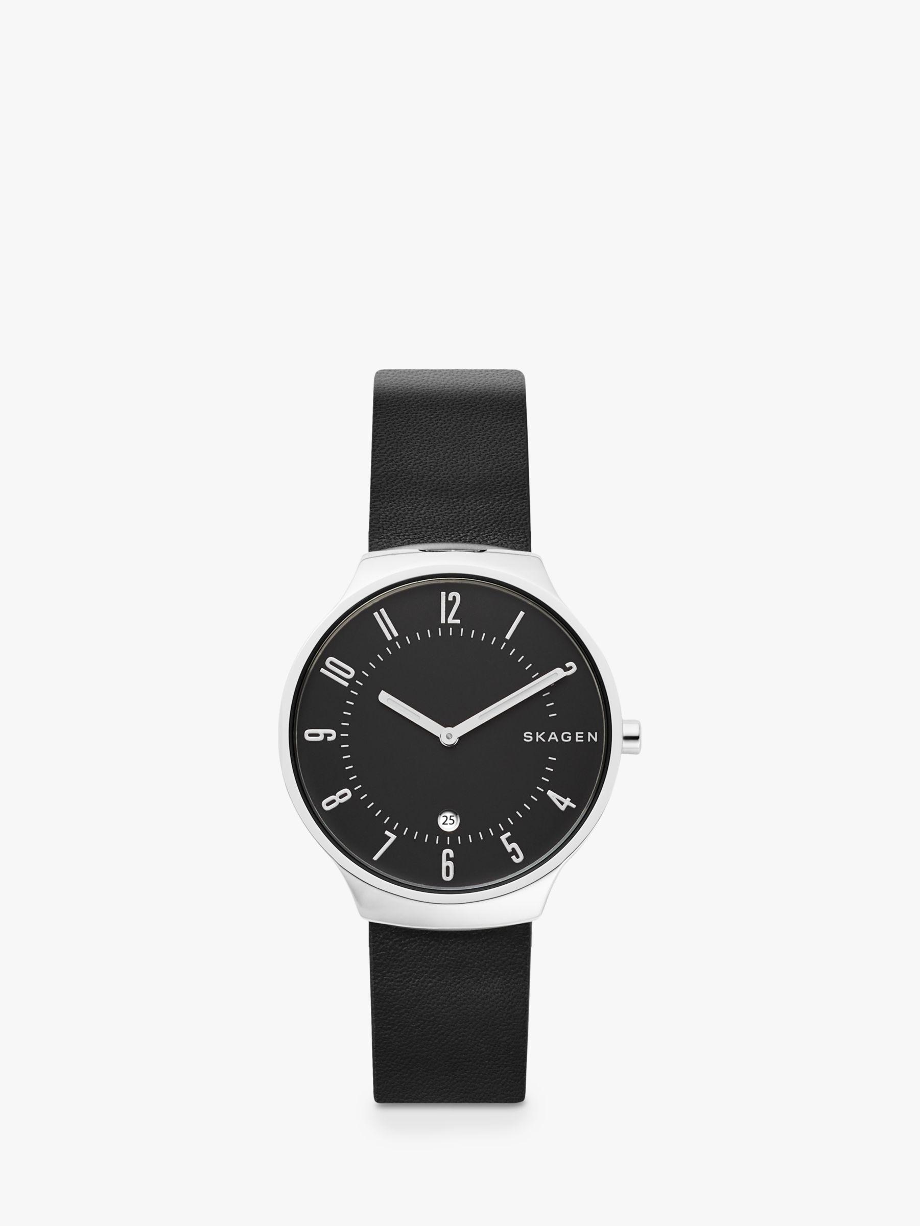 skagen Skagen SKW6459 Men's Grenen Date Leather Strap Watch, Black